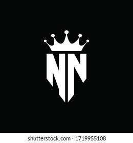 NN logo monogram emblem style with crown shape design template
