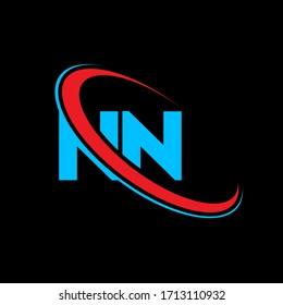 NN N N letter logo design. Initial letter NN linked circle upercase monogram logo red and blue. NN logo, N N design