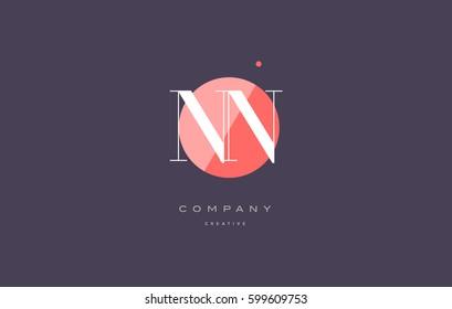 nn n  retro vintage simple rhombus three 3 letter combination black white alphabet company logo line design vector icon template
