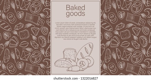 nner with a pattern of bakery products with a linear pattern of loaves of bread, lamb and croissant. Vector