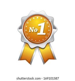 No 1 Yellow Seal vector Icon