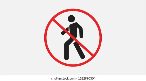 No access for pedestrians prohibition sign, vector illustration. Prohibition No Pedestrian Sign. No walk icon