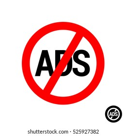 No ads icon. Remove advertisement logo for mobile applications and other. Ads free sign.
