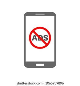 NO ADS sign on smartphone screen. Mobile ad blocker. Vector icon.