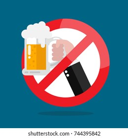No alcohol allowed sign. Vector illustration
