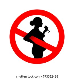 No alcohol during pregnancy period sign. Forbidden sign. Vector illustration. Isolated on white background