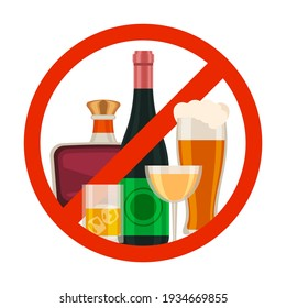 No alcohol icon. Alcoholic drink prohibition sign with cartoon beer glass, wine and whiskey bottle in red circle. Ban beverage vector symbol