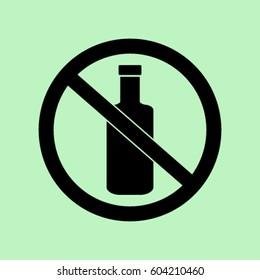 No alcohol icon, bottle prohibited vector illustration