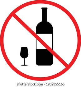 no alcohol icon on white background. flat style. no drinking sign. forbidden symbol simple. no alcohol symbol.