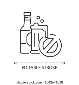 No alcohol linear icon. Water park rule. Drinking restriction thin line customizable illustration. Contour symbol. Beer pint and bottle with stop sign vector isolated outline drawing. Editable stroke