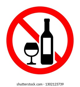 No alcohol sign isolated on white background - Vector