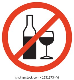 No alcohol sign on white background. Isolated vector illustration.