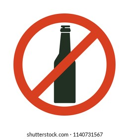 No alcohol sign. Prohibiting alcohol beverages. Red forbidden symbol with bottle. Vector isolated illustration.