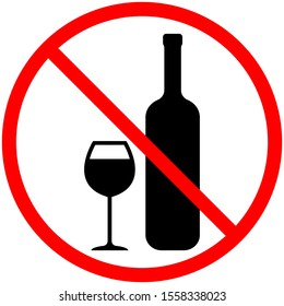 No alcohol sign. Prohibition of alcoholic beverages. A glass bottle and a wine glass are crossed out in a red circle, isolated on a white background. Vector stock illustration.