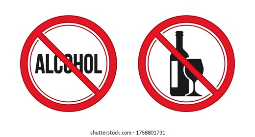 No alcohol sign. Red prohibition signs vector image