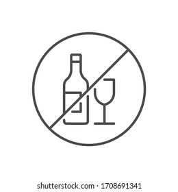 No alcohol sign related vector thin line icon. Bottle of wine and a glass in prohibitory sign. Isolated on white background. Editable stroke. Vector illustration.