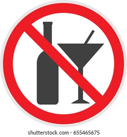No alcohol sign in vector  depicting banned activities