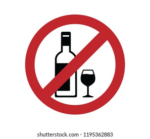 no alcohol sign wine bottle and up in crossed out red circle icon