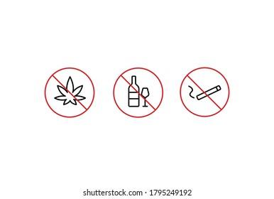 No alcohol, no smoke, no cannabis, no drugs simple thin line icon vector illustration