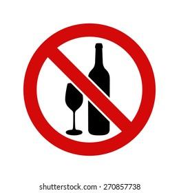 No alcohol, warning sign, vector illustration