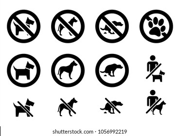 No animal No dog or pets allowed No shit warning No admittance sign Walking Alert vector eps icon sign set sticker seal forbit forbidden canine Pooping poop muck calamity Paw Prohibition  circle frame