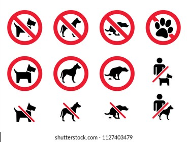 No animal No dog or pets allowed No shit warning No admittance sign Walking Alert vector eps icon sign red sticker seal forbit forbidden canine Pooping poop muck calamity Paw Prohibition  circle frame