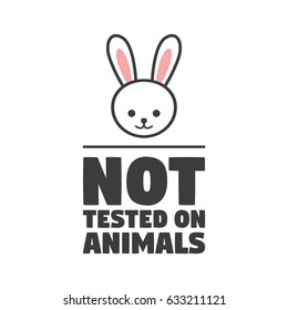 No animals testing icon design symbol. Can be used as sticker, logo, stamp, icon. Vector illustration