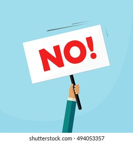 No answer choice vector illustration, man hand holding placard with no sign, person say no vote