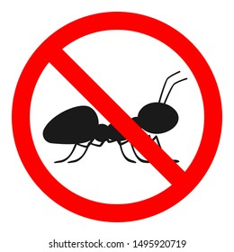 No Ants Sign Ant Free Symbol Stock Vector Royalty Free 1495920719