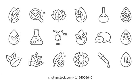 No artificial colors, organic leaf line icons. Dermatologically tested, Paraben chemical formula icons. Hypoallergenic tested, Neutral ph. Linear set. Quality line set. Vector