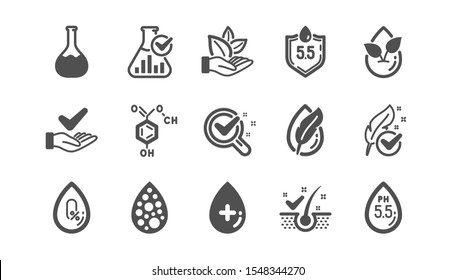 No artificial colors, organic leaf icons. Dermatologically tested, Paraben chemical formula icons. Hypoallergenic tested, Neutral ph. Classic set. Quality set. Vector