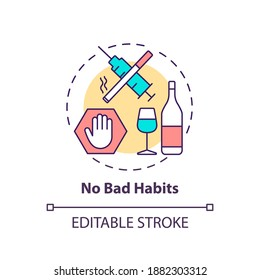No bad habits concept icon. Avoid addiction. Warning for drug using. Restriction from substance. Brain health idea thin line illustration. Vector isolated outline RGB color drawing. Editable stroke