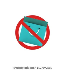 No Bags Allowed Cancelled Flat Style Sign