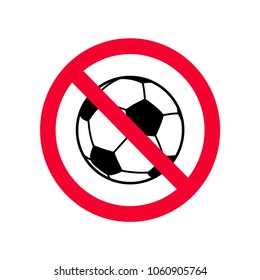 No ball games red prohibition sign. No playing ball games sign.