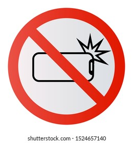 No Ban Stop sign No selfie sticks No photos No camera Vector phone photography forbidden sign symbol icon monopod selfie prohibited Beware hand hold sticks circle shape Caution signs
