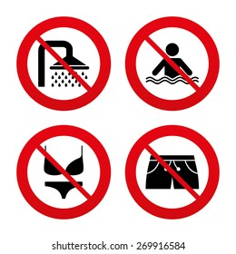 No, Ban or Stop signs. Swimming pool icons. Shower water drops and swimwear symbols. Human stands in sea waves sign. Trunks and women underwear. Prohibition forbidden red symbols. Vector