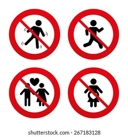 No, Ban or Stop signs. Women pregnancy icon. Human running symbol. Man love Woman or Lovers sign. Prohibition forbidden red symbols. Vector