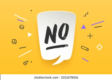 No. Banner, speech bubble, poster and sticker concept, geometric memphis style with text No. Icon message No cloud talk for banner, poster, web. White background. Vector Illustration