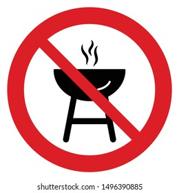 No barbecue vector. Not allow   roasted grill sign. The red circle prohibiting sing