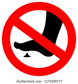 No bare feet sign, sharp spike danger.  Vector illustration on white background