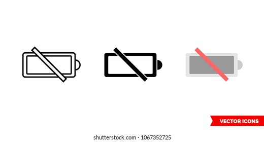 No battery icon of 3 types: color, black and white, outline. Isolated vector sign symbol.