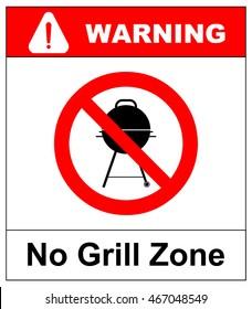 No bbq allowed - ban sign. Vector warning banner
