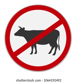 No beef sign. Dietary restriction. Vector illustration