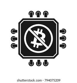 No Bitcoin Processor Minig sign illustration