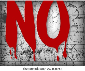 NO, a bloody word over a shattered background. #me too, times up.