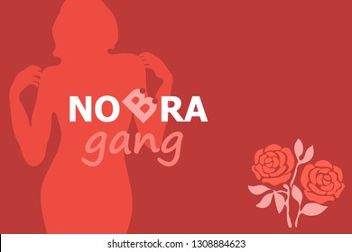 No Bra Gand. Poster for International Woman Day. Young woman silhouette and rose. Design for cards, banners, flyers. Feminism concept.