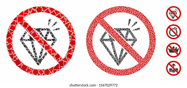No brilliant mosaic of uneven items in various sizes and color tinges, based on no brilliant icon. Vector humpy items are organized into mosaic. No brilliant icons collage with dotted pattern.