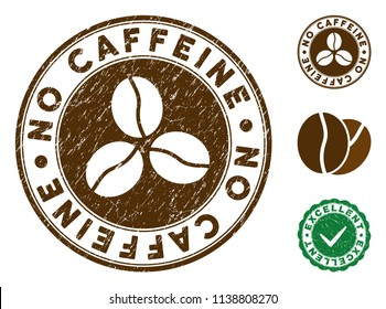 No Caffeine brown stamp. Vector seal imprint imitation with grunge effect and coffee color. Round vector rubber seal stamp with grunge design of No Caffeine text. Bonus excellent mark.