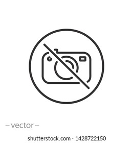 no camera icon, no photo, stop, not to take photographs, line symbol on white background - editable stroke vector illustration