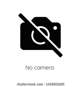 no camera icon vector. forbidden  symbol. Linear style sign for mobile concept and web design. no camera symbol illustration. Pixel vector graphics - Vector.